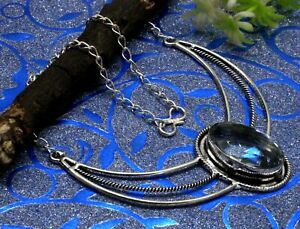 "925 Sterling Silver White Topaz Gemstone Handmade Jewelry Necklace S-18"""