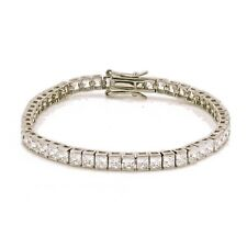 Fine 925 Sterling Silver Tennis Bracelet with 3 X 3 SQ Lab Created Diamonds