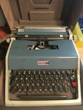 Vintage Blue Underwood 21 Typewriter with Cover and Case