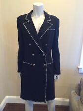 CHANEL 05C Black Wool Tweed Devil Wears Prada Double Breasted Coat Jacket 42
