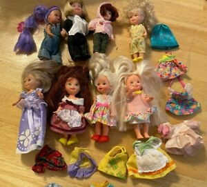 Lot of 8 Kelly Dolls & Friends (Barbie's Sister) With Clothing & Shoes