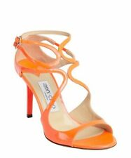 Jimmy Choo Lang Neon Orange Flame Ivette Sandals Pumps 85 mm Shoes 40.5