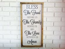 "Large Rustic Wood Sign - ""Prayer Bless The Food""  Fixer Upper, Kitchen, Framed"