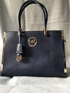 Women's Michael Kors Medium Dark Navy & Gold Faux Leather Handbag
