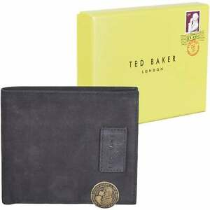 Ted Baker Nubuck Leather Bifold Wallet, Black One Size
