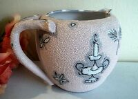 Vtg mid century modern Italian pottery pink pitcher.Texured glaze.Hand painted