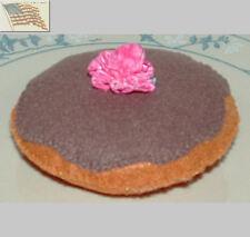 felt food play toys 1 TAN BISMARK DONUT CHOCOLATE FROSTING PINK GREEN FLOWER