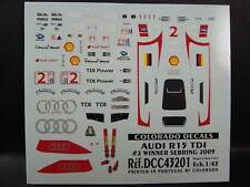 DECALS 1/43 AUDI R15 TDI #2 SEBRING 2009  - COLORADO  43201