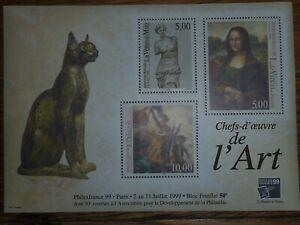 CHEFS D OEUVRE DE L ART 1999 150 ANS DU TIMBRES 3 UNITÉS DANS UN LIVRET
