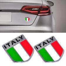2X Aluminum Italy Italian Flag Car Auto Bike Chrome Emblem Decal Sticker FR