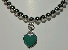 Sterling Silver Ball and Green Enamel Heart Charm Bracelet