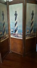 Vintage Nautical Lighthouse Room Wall Divider Screen Painted three Panels