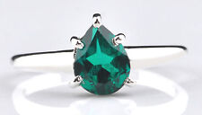 925 Sterling Silver 1.20CT Natural Green Emerald Pear Shape Anniversary Ring