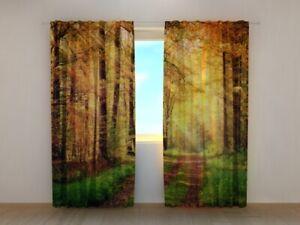 Fotogardine Waldweg im Herbst Foto-Vorhang mit Motiv Digitaldruck Maßanfertigung