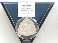 1996 BERMUDA triangolare $9 NINE DOLLARO PROVA D'ARGENTO 5oz MONETA SCATOLA COA