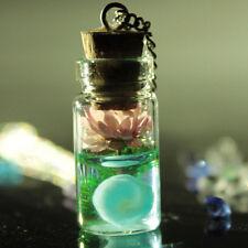 Brillan En La Oscuridad secos Flor Deseando Botella Collar/Joyería Idea de Regalo
