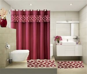 COMPLETE BATHROOM SET 2 BATH MATS 1 SHOWER CURTAIN &FABRIC HOOKS PRINTED DESIGNS