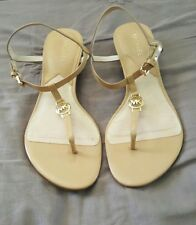 MICHAEL KORS Nora Nude Beige Wedges Sandals Leather Timber Size 8M    1