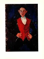 "1977 Vintage SOUTINE ""PORTRAIT OF A BOY"" FABULOUS COLOR offset Lithograph"