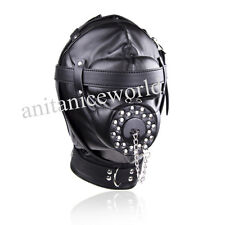 NEW Open Mouth Gag Leather Gimp Mask Padded Blindfold Full Hood Lockable Costume