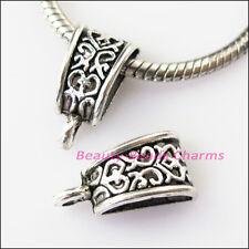 4Pcs Antiqued Silver Flower Bail Bead Fit Bracelet Charms Connectors 10x20mm