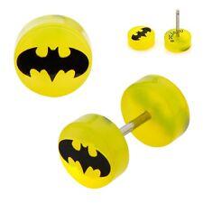 Batman Symbol DC Comics Yellow 18g Acrylic Faux Plugs