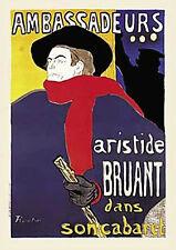 "AMBASSADEURS ARISTIDE BRUANT HENRI DE TOULOUSE-LAUTREC ART PRINT  22"" X 28""- NEW"