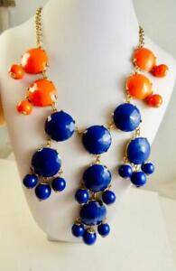 J. CREW Statement Goldtone Blue & Orange Bold BIB Necklace