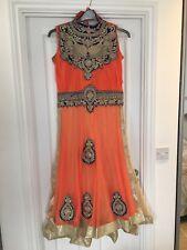 Wedding Wear Indiano Designer Tunica Vestito Abito Halter Neck due tonalità di colore