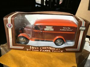 Trustworthy Hardware 1935 Chevrolet diecast panel truck coin bank in box.
