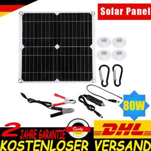 12V 80W Solarpanel Solarmodul Ladegerät Kit Für Wohnwagen / Camping / Heim USB.