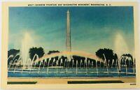 Vintage Washington D.C. Rainbow Fountain and Washington Monument Linen Postcard