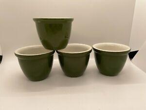 Hall #352 Set of 4 Green Custard Dessert Egg Cups 5 oz. 2 5/8 x 3 1/4 inch USA