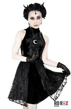 Restyle Gothic Wicca High Neck Lace Velvet Guipure Midi Dress Moon Crescent