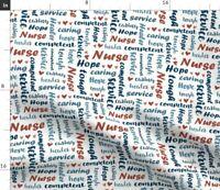 Nurse Words Teal White Nursing Registered Lpn Fabric Printed by Spoonflower BTY