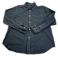 Mens Tripp NYC Black Button Front Rocker Goth Shirt Size 2X  Actual L