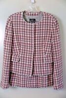 NWT Kulson Italy Pink Gray Wool Angora Jacket Skirt Set Sz 44 US 8/10 MSRP $920