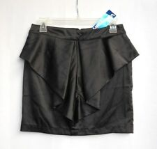 ValleyGirl Black Shiny Satin Feel Pleated/Ruffle Front Mini Skirt - Sz 10 - New