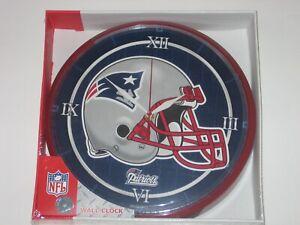 """New England Patriots 12"""" Logo Round Wall Clock - Runs On One AA Battery"""