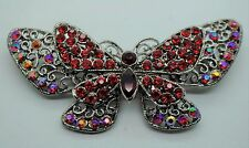 Vintage Butterfly Style Fashion Brooches Dkab/Lt Red  high-quality Bouquet