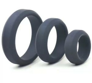 Super Thick Triple Black Penis Cock Ring Set Silicone Adult Sex Toy