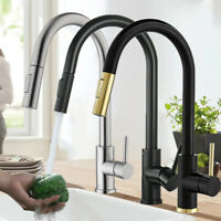 Commercial Kitchen Faucet Swivel Spout Single Handle Sink Pull Out Sprayer Mixer