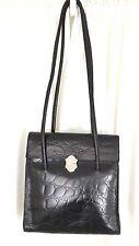 Furla vintage 90s black croc embossed handbag