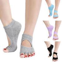 Sport Yoga Dance 5 Toe Socks Half Toe Toeless Ankle Grip Non Slip Soft Socks
