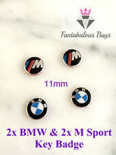 4 x BMW & M Sport Remote Key Fob 11mm Badge Emblem Sticker Replacement 1 3 5 6 7