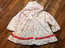 Girls Pink Faux Fur Floral Rose Princess Hooded Coat Size 4 By Corky & Company