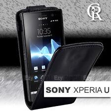 Premium BLACK FLIP Leather Case Cover For SONY ERICSSON XPERIA U ST25iB + SP