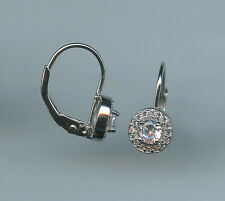 925 STERLING SILVER 1/4 CARAT EACH 4MM ROUND CUT CZ HALO LEVERBACK EARRINGS