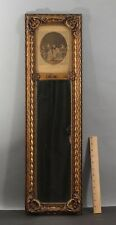 Small Antique Gold Gilded Wood Mirror w/ 18thC French Fashion Print, NR