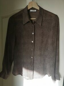 Blouse 10 Beige Brown Precis Petite Chiffon crepe Long Sleeve Shirt fitted